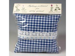 Bylinný polštářek pro dobrý spánek modrobílá kostička s krajkou