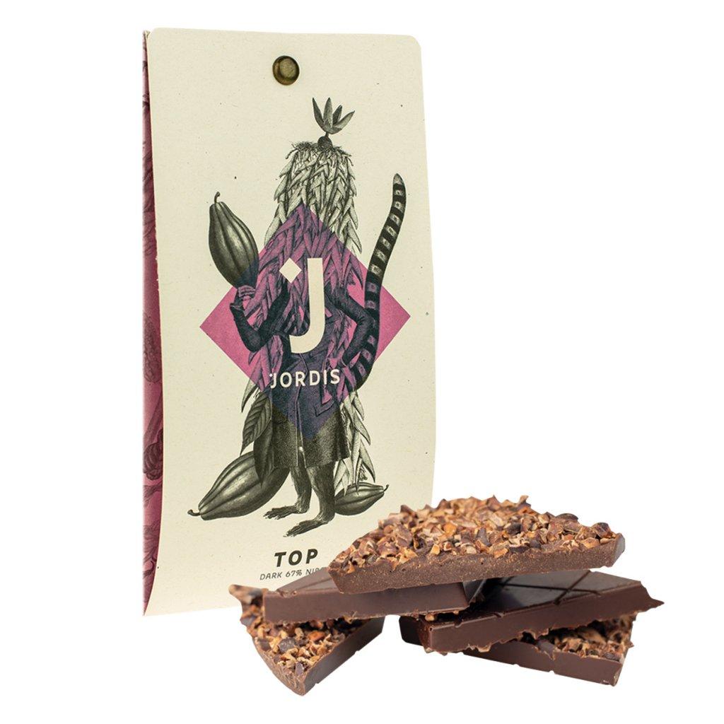 Tmava cokolada s kousky kakaovych bobu Jordis