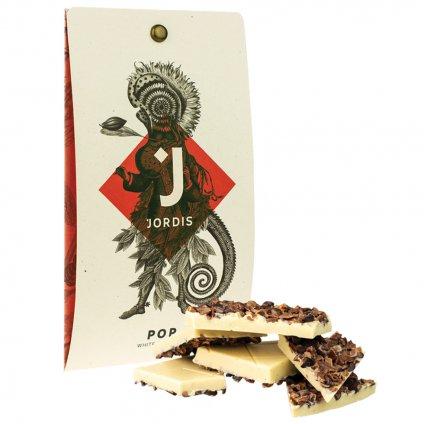 Bila cokolada s kousky kakaovych bobu POP TEST