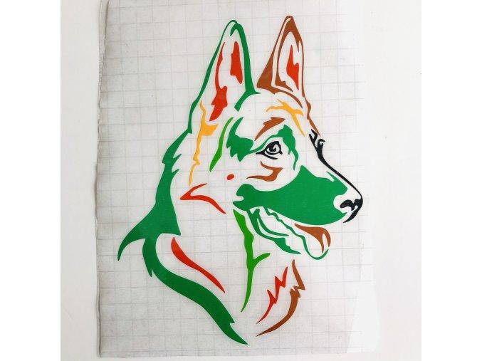 Německý ovčák barevná samolepka