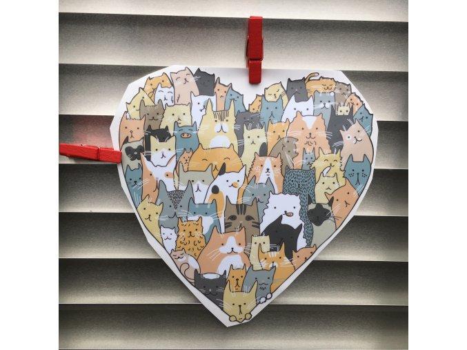 Kočičí srdce samolepka, nálepka kočky