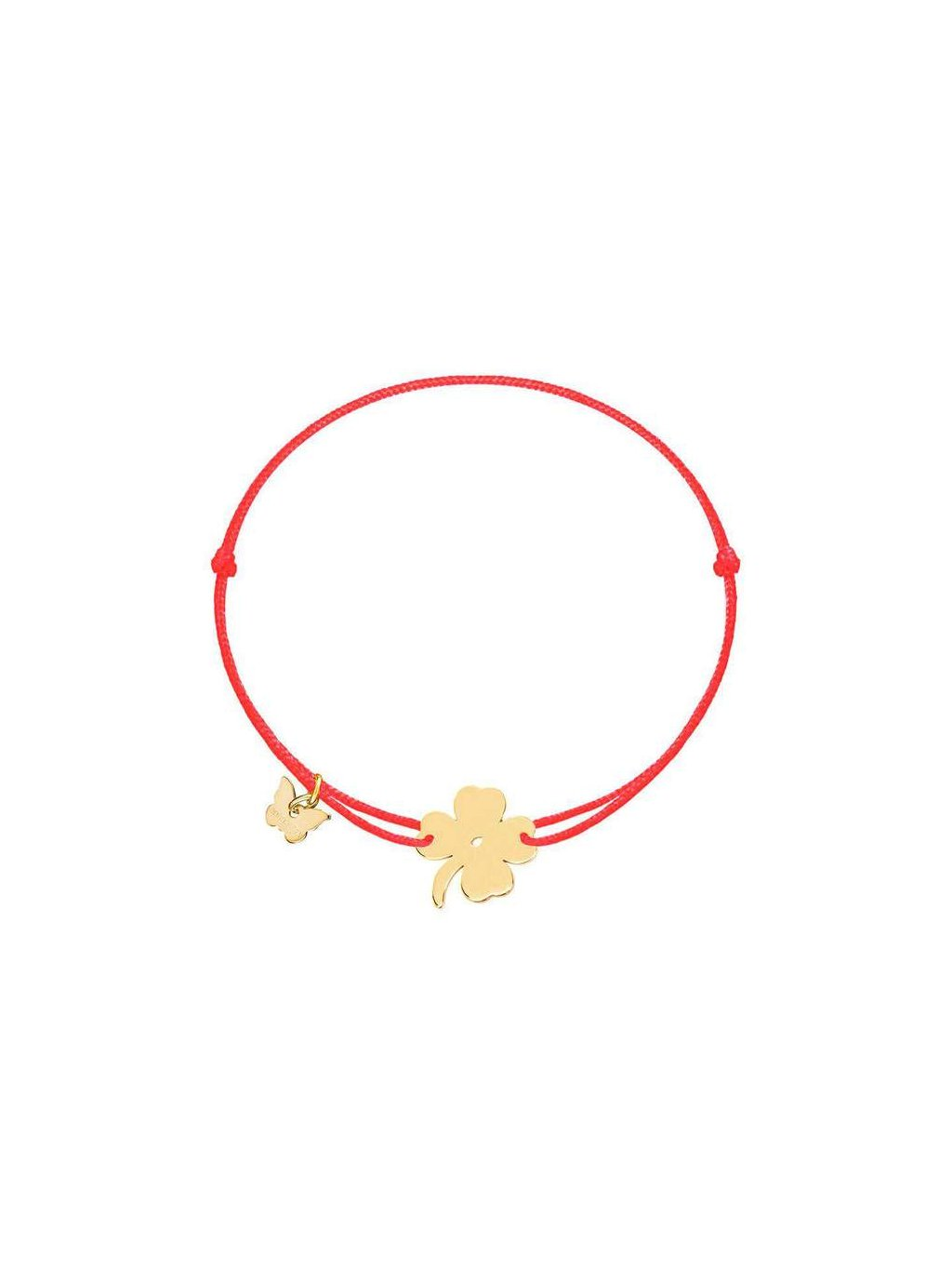 Lucky Clover bracelet yellow gold plated on red 700x