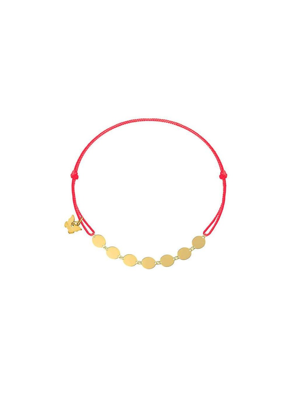 Round plates bracelet yellow gold plated on red 700x