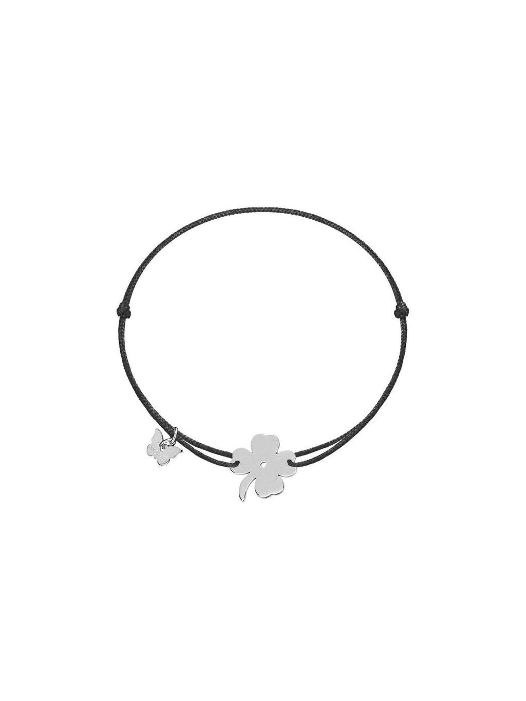 Lucky Clover bracelet white gold plated on black 700x