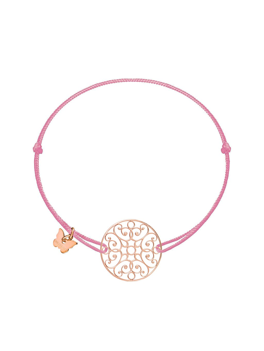 Lace Circle bracelet rosegold plated on antique pink