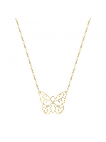 Lace Butterfly small necklace yellow gold plated 700x
