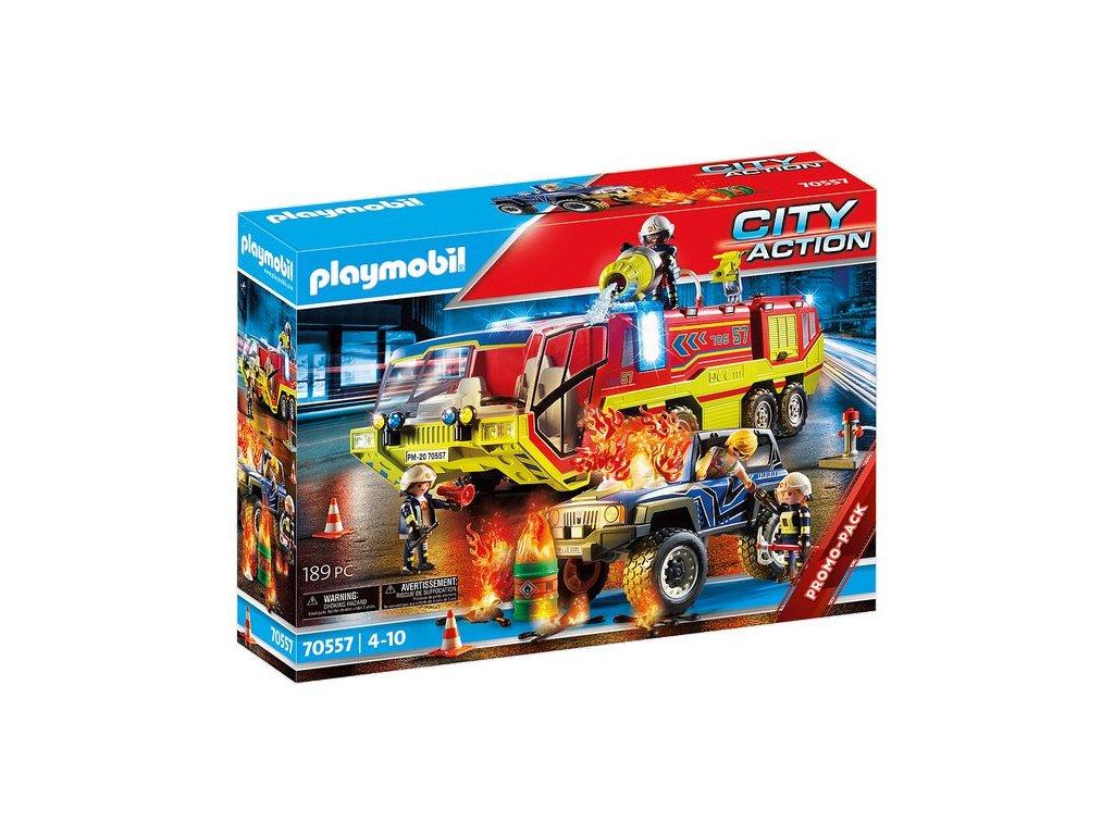 Playmobil Hasiči v akci s hasičským vozem
