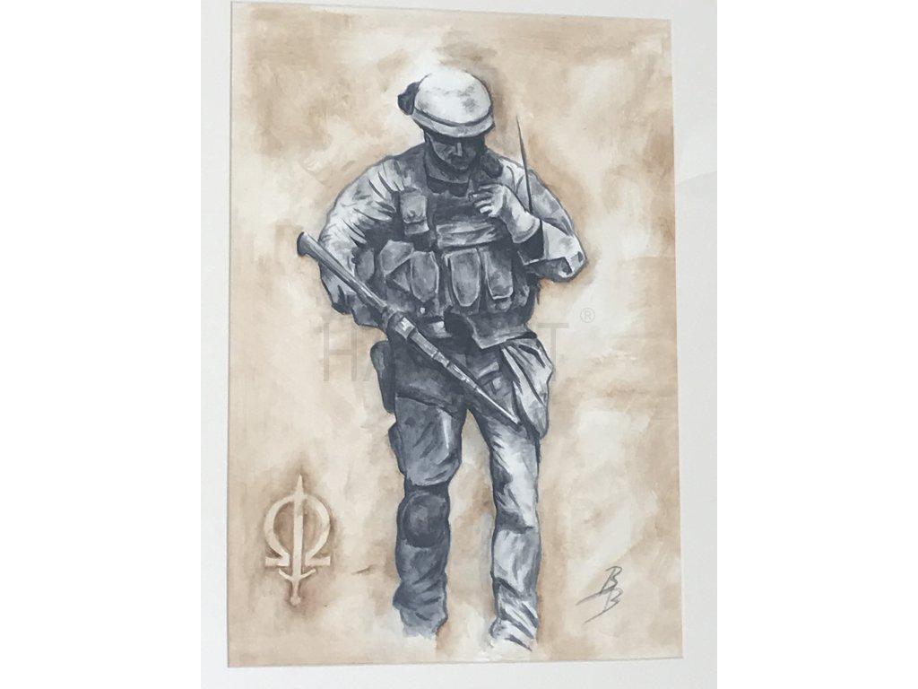 """Akvarel """"Pán bouře"""" ze série SOG AČR"""