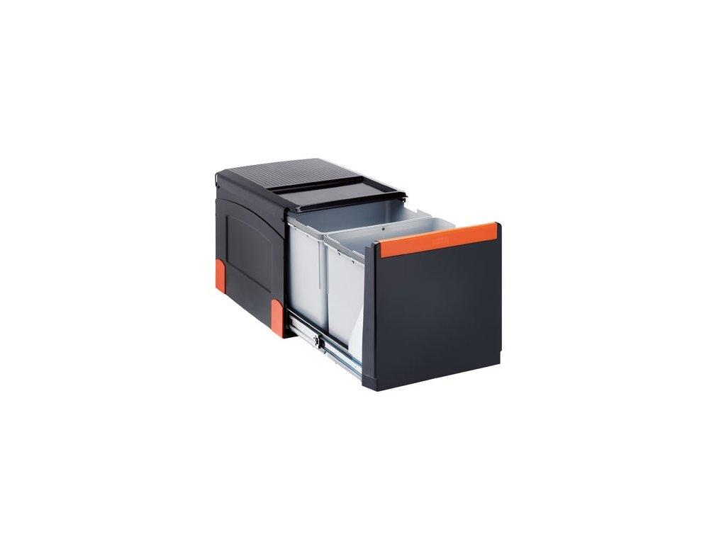 Odpadkový koš Cube 41, 2x 18l, ruční výsuv