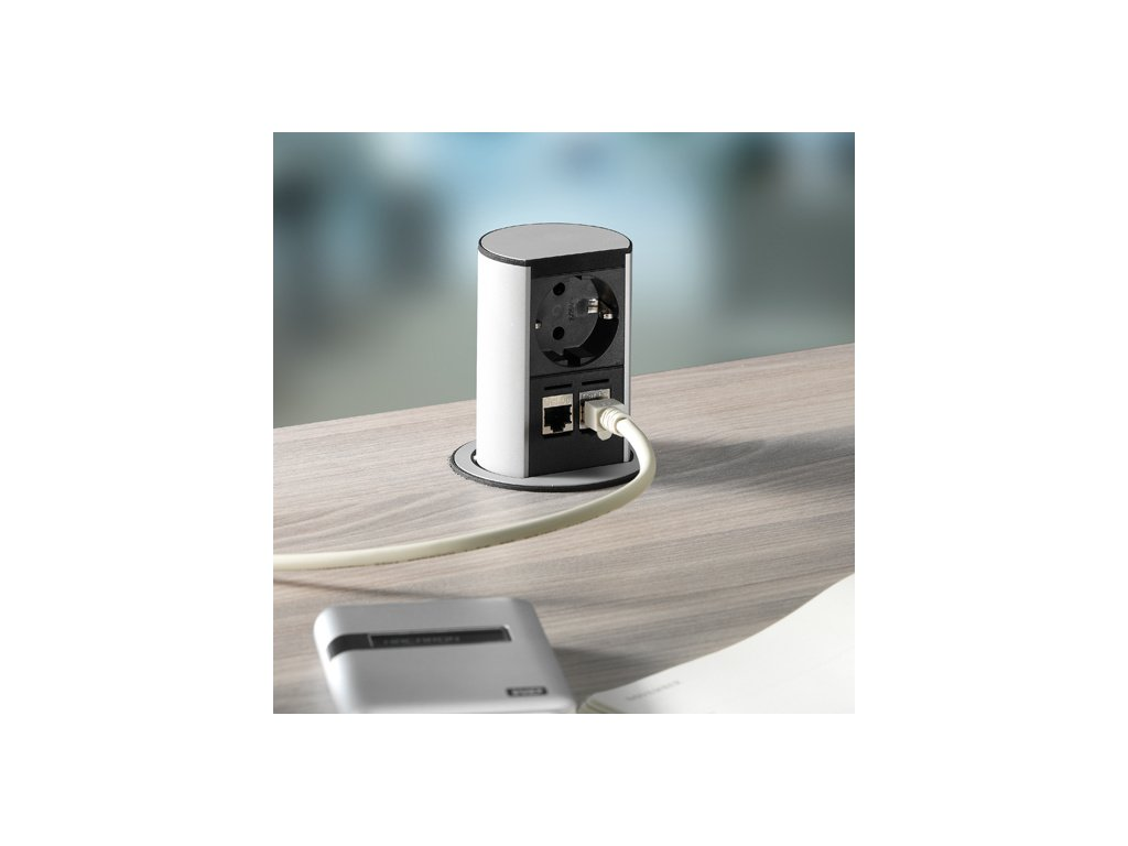 Zásuvka Bachmann Elevator Office hliník 1x 230V 2x RJ45 928.008