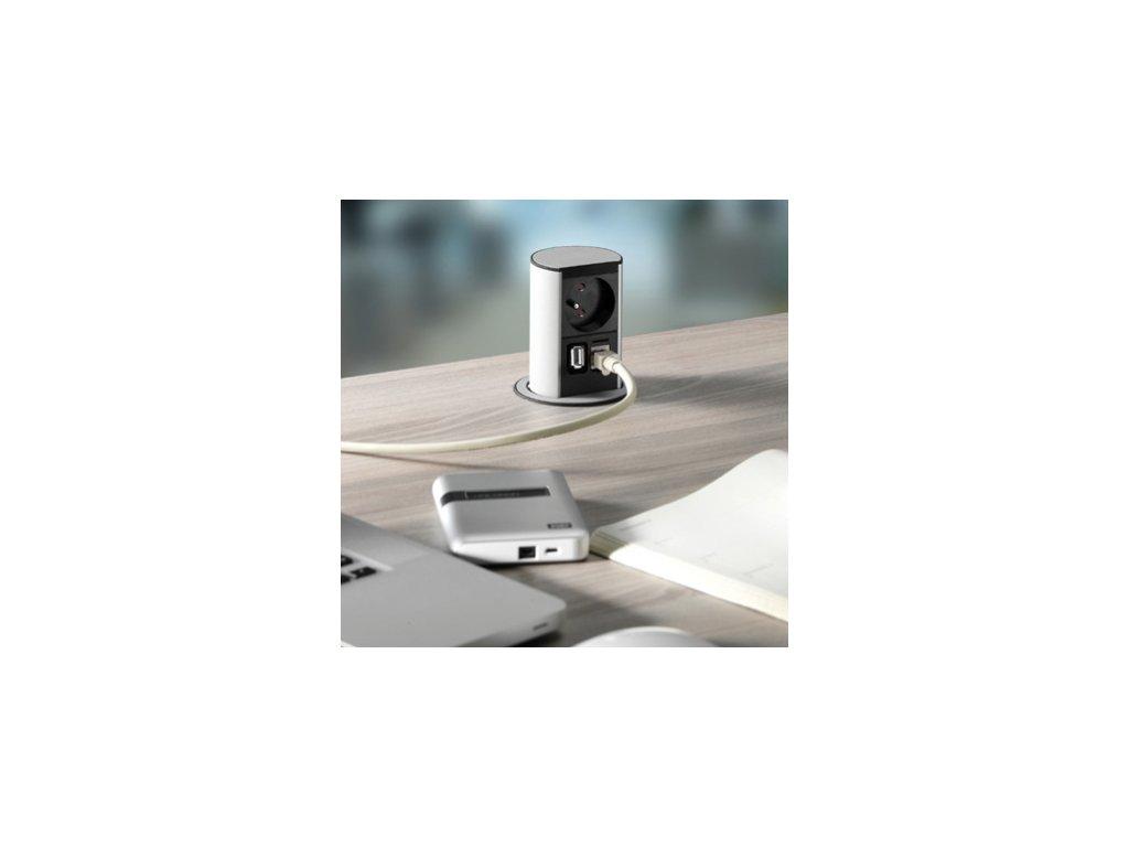 Zásuvka Bachmann Elevator Office hliník 1x 230V, USB, RJ45 928.009