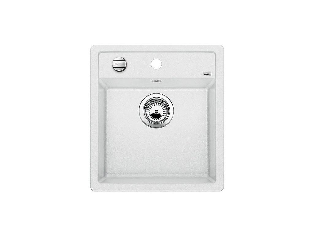 Granitový dřez Blanco DALAGO 45 Silgranit bílá s excentrem  + Čistící prostředek BLANCO ANTIKALK 30 ml