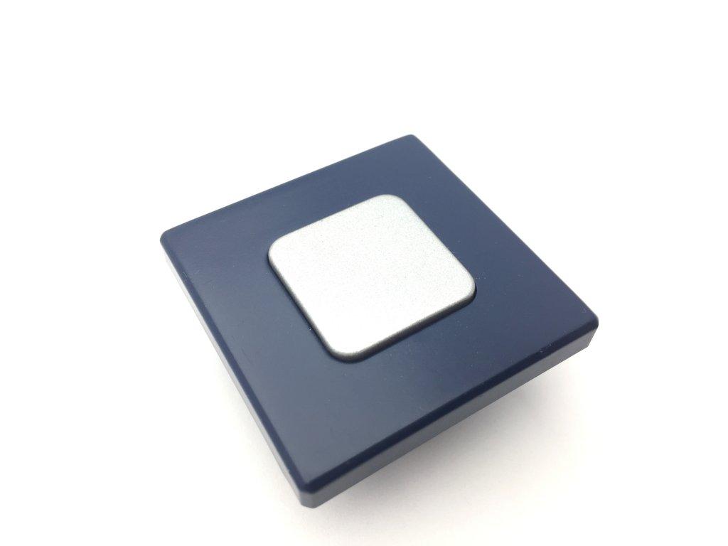 Nábytková dětská úchytka Bria modrá/stříbrná