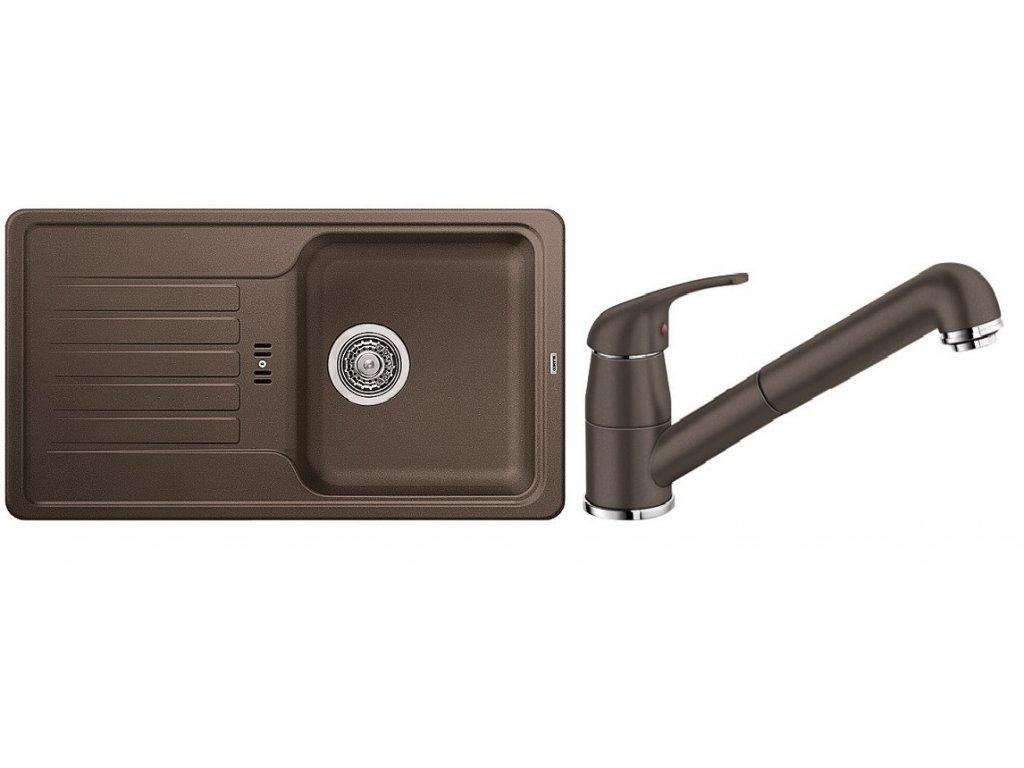 Kuchyňský set Blanco dřez FAVOS Mini kávová + baterie DARAS S  + Čistící prostředek BLANCO ANTIKALK 30 ml