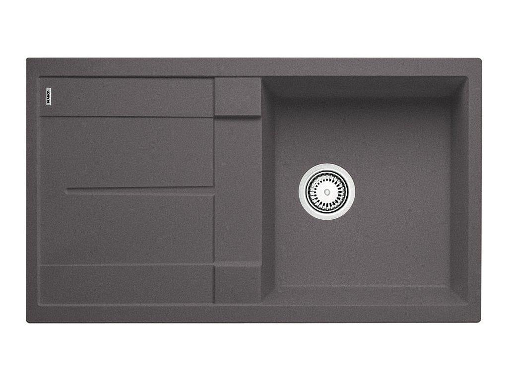 Kuchyňský granitový dřez Blanco METRA 5 S šedá skála  + Čistící prostředek BLANCO ANTIKALK 30 ml