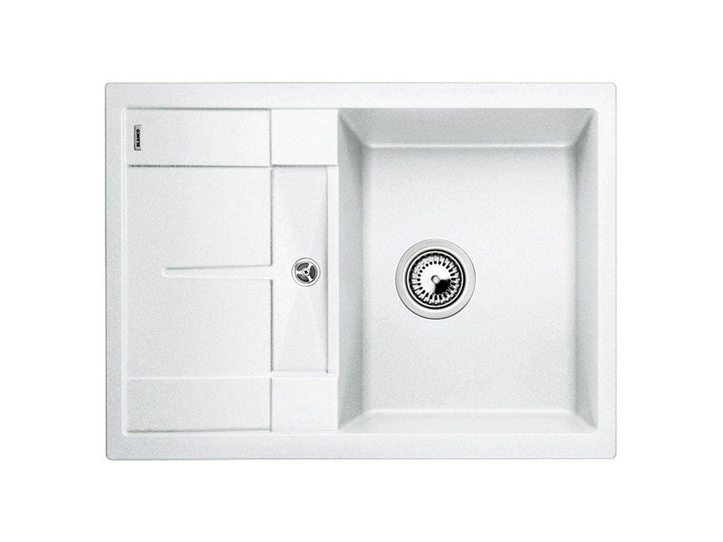 Kuchyňský granitový dřez Blanco METRA 45 S Compact bílá  + Čistící prostředek BLANCO ANTIKALK 30 ml