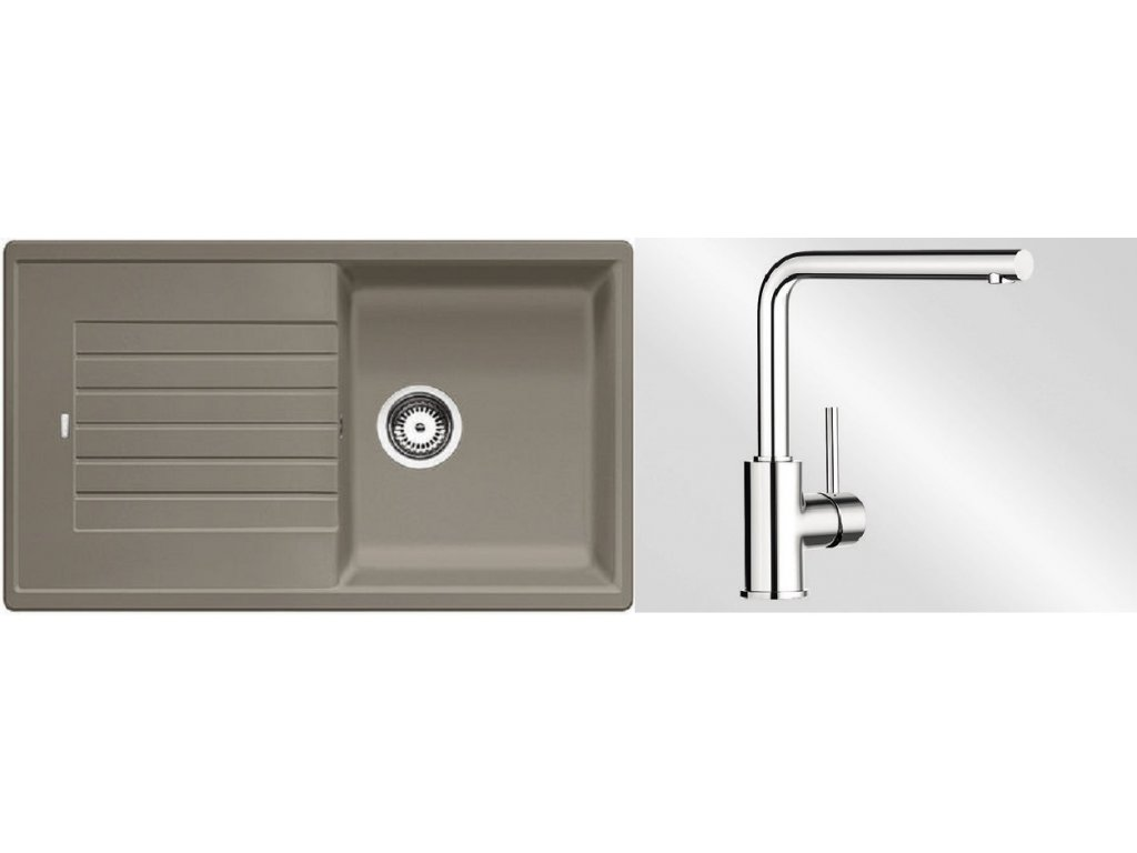 Kuchyňský set Blanco dřez ZIA 5 S tartufo + baterie Mila  + Čistící prostředek BLANCO ANTIKALK 30 ml