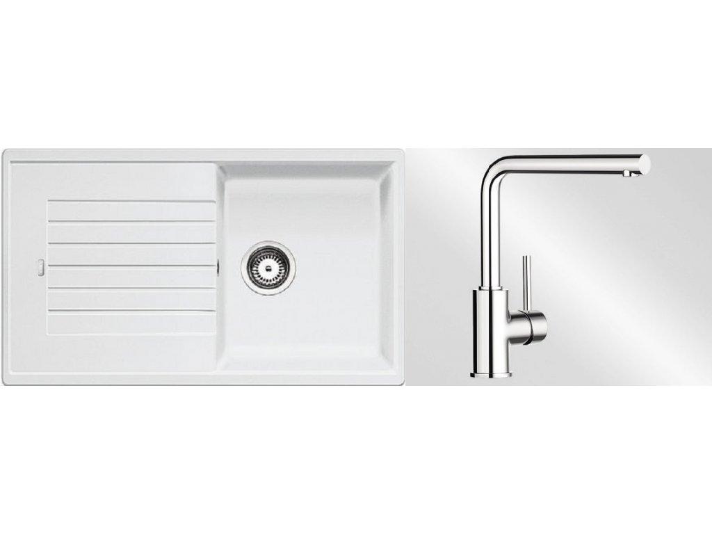 Kuchyňský set Blanco dřez ZIA 5 S bílá + baterie Mila
