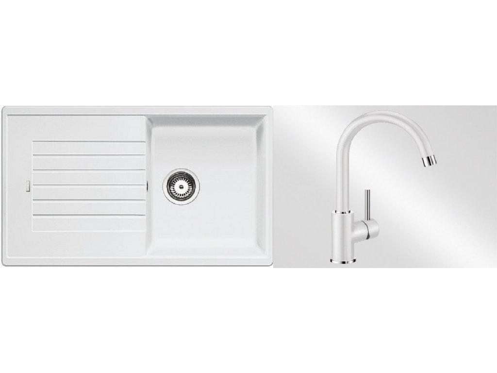 Kuchyňský set Blanco dřez ZIA 5 S bílá + baterie Mida  + Čistící prostředek BLANCO ANTIKALK 30 ml