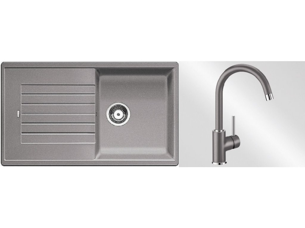 Kuchyňský set Blanco dřez ZIA 5 S aluminium + baterie Mida