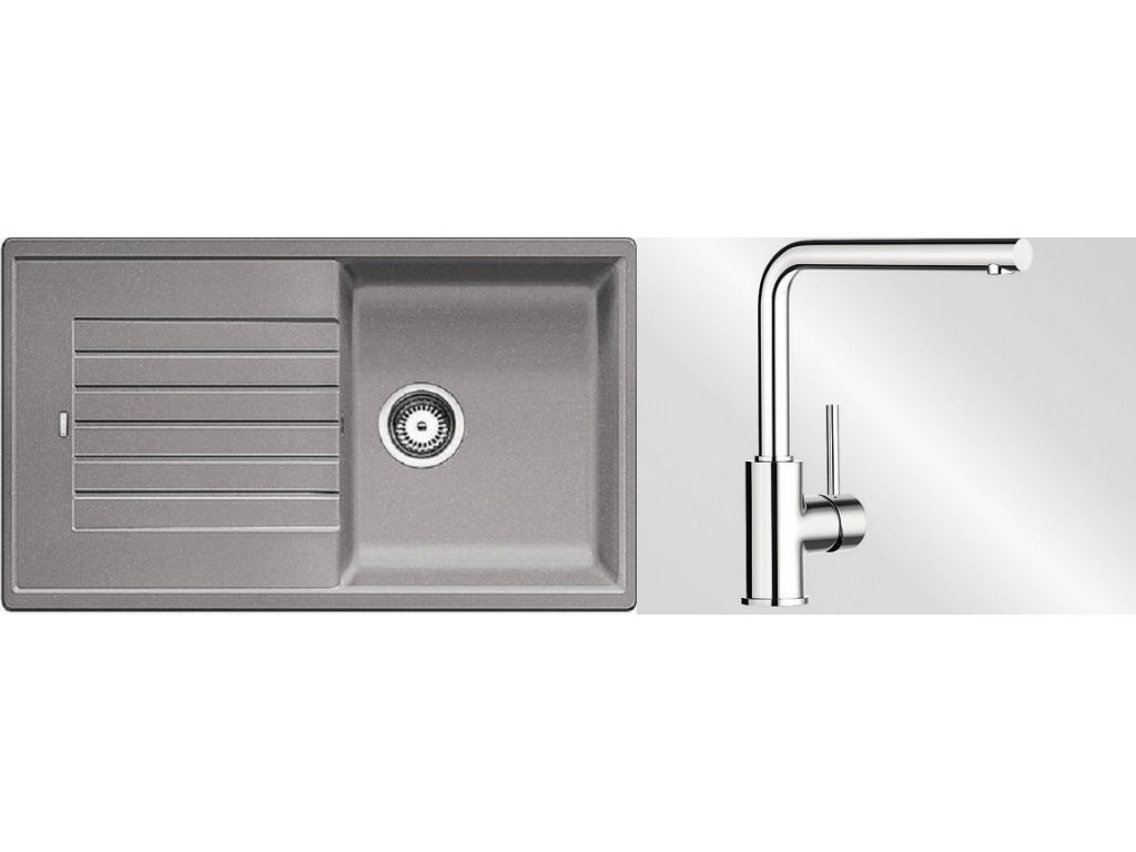 Kuchyňský set Blanco dřez ZIA 5 S aluminium + baterie Mila
