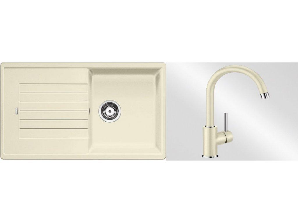 Kuchyňský set Blanco dřez ZIA 5 S jasmín + baterie Mida  + Čistící prostředek BLANCO ANTIKALK 30 ml