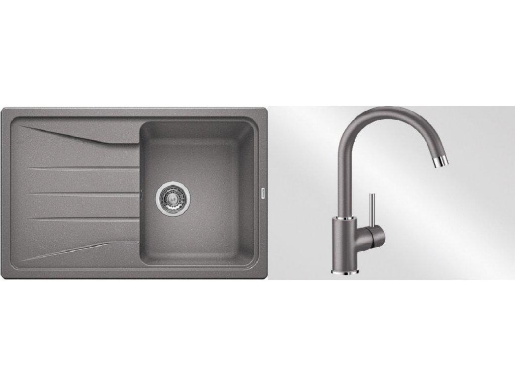Kuchyňský set Blanco dřez SONA 45 S aluminium + baterie Mida  + Čistící prostředek BLANCO ANTIKALK 30 ml