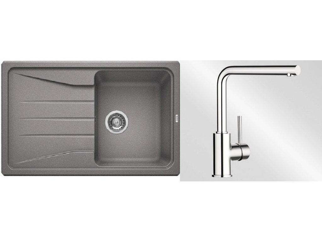 Kuchyňský set Blanco dřez SONA 45 S aluminium + baterie Mila  + Čistící prostředek BLANCO ANTIKALK 30 ml