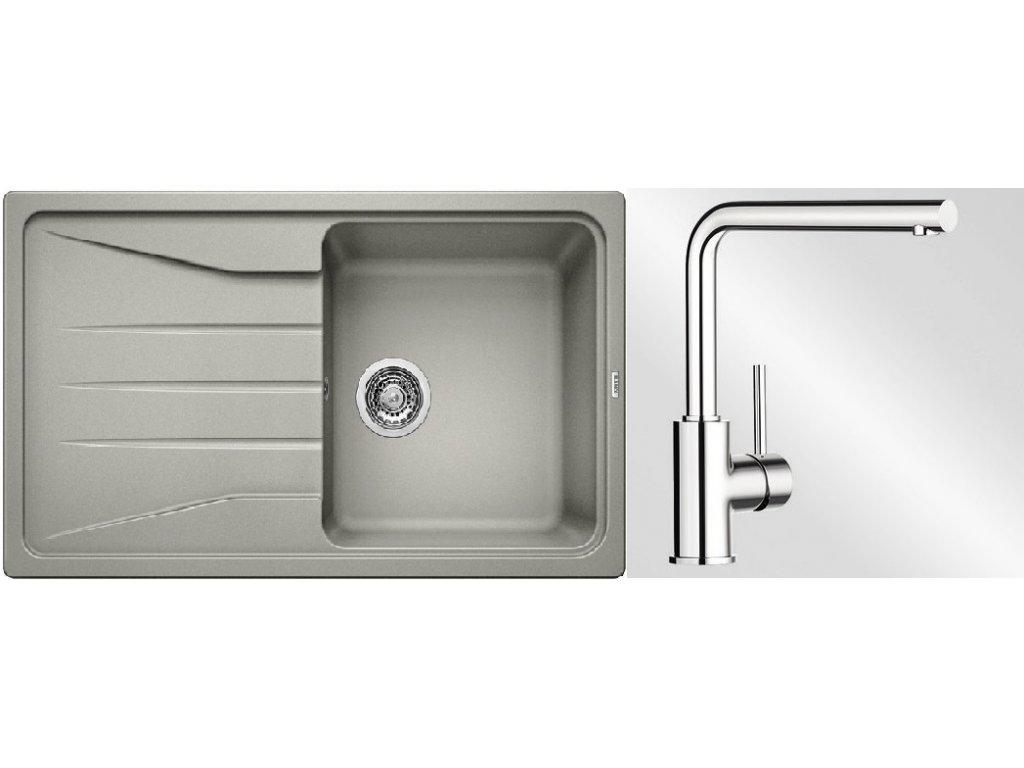 Kuchyňský set Blanco dřez SONA 45 S perlově šedá + baterie Mila