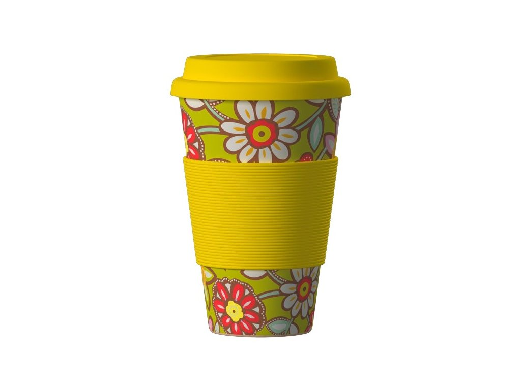 Bamboo Cup 400ml - Daisies yellow