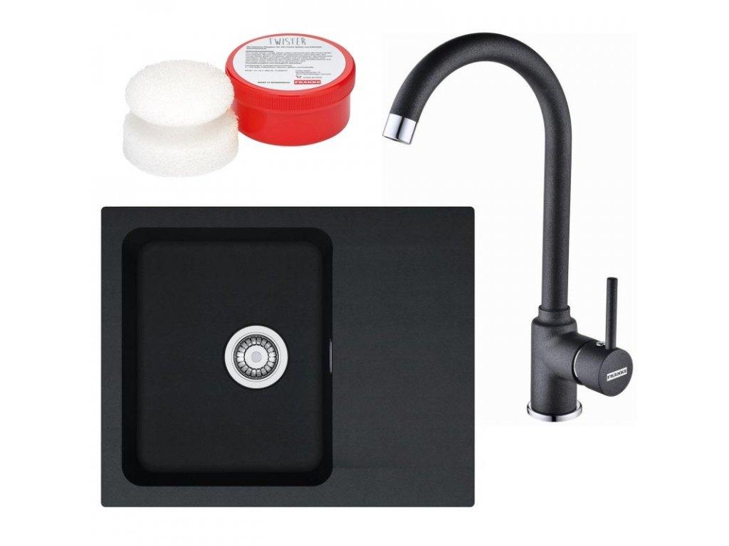 Kuchyňský set Franke T29 (dřez OID 611-62 + baterie FP 9900) Černá  + Čistící pasta Franke Twister 125ml