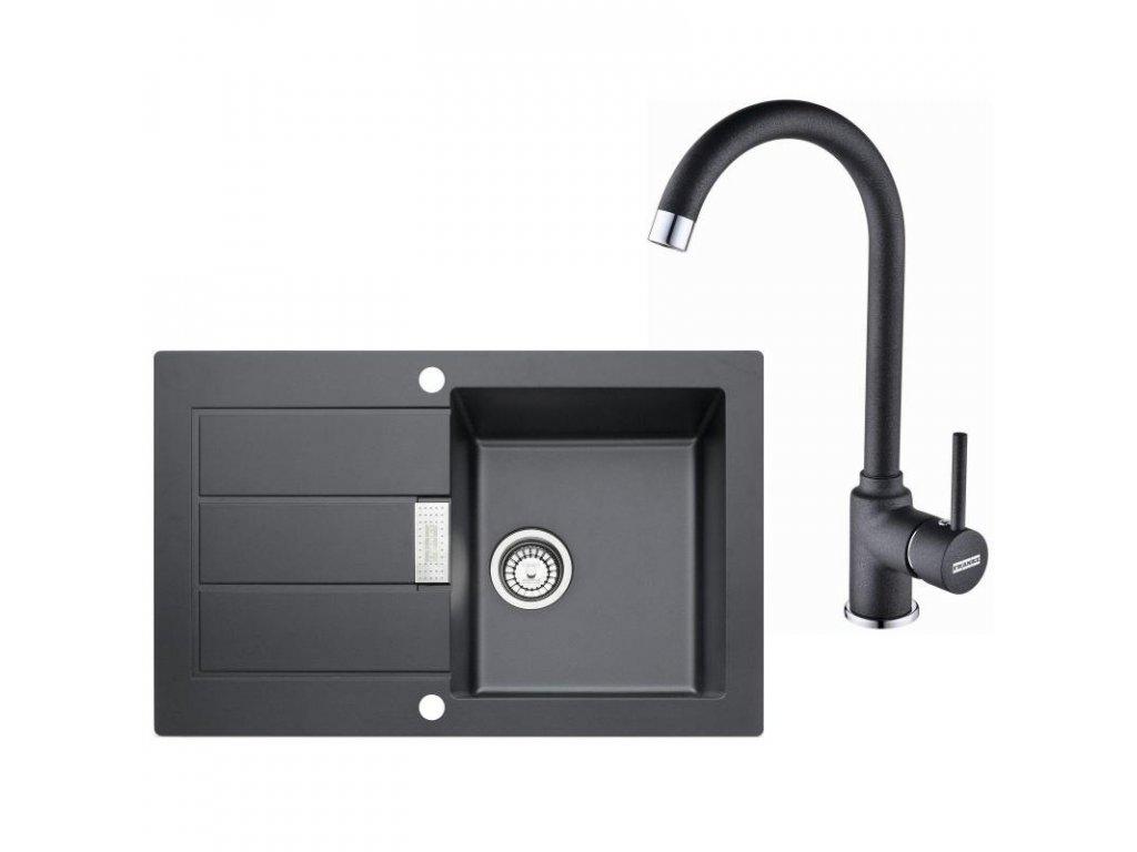 Kuchyňský set Franke T26 (dřez SID 611-78 + baterie FP 9900) Černá  + Vůně do bytu Areon 85ml