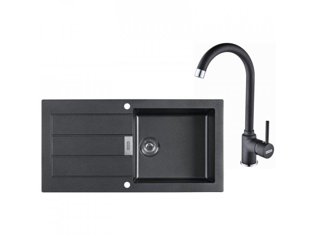 Kuchyňský set Franke T27 (dřez SID 611 + baterie FP 9900) Černá  + Vůně do bytu Areon 85ml