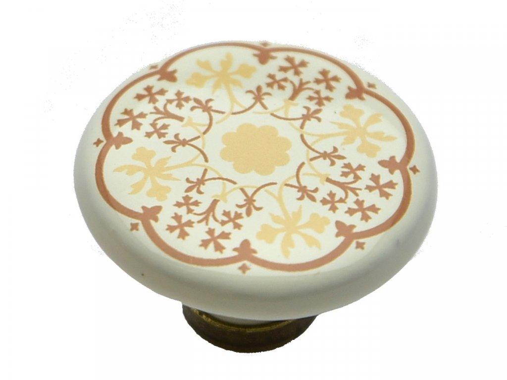 porcelanova knopka bosa bezova s kvetem
