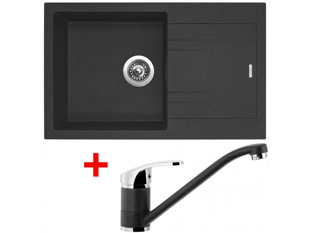 Set Sinks kuchyňský dřez LINEA 780 N  + baterie LEGENDA granblack