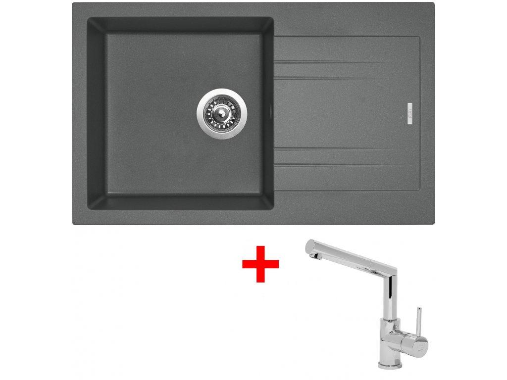 Akční set Sinks dřez LINEA 780 N Titanium + baterie MIX 350 P Chrom  + Sinks čistící pasta