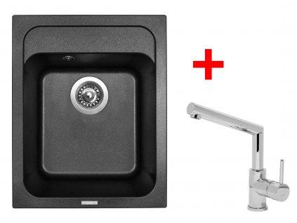 Akční set Sinks CLASSIC 400 Metalblack a baterie MIX 350 P lesklá  + Vůně do bytu Areon 85ml