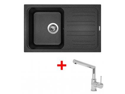 Akční set Sinks CLASSIC 740 s odkapem a baterie MIX 350 P Granblack  + Vůně do bytu Areon 85ml