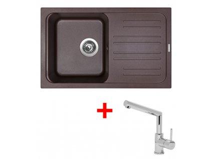 Akční set Sinks CLASSIC 740 s odkapem a baterie MIX 350 P Marone  + Vůně do bytu Areon 85ml