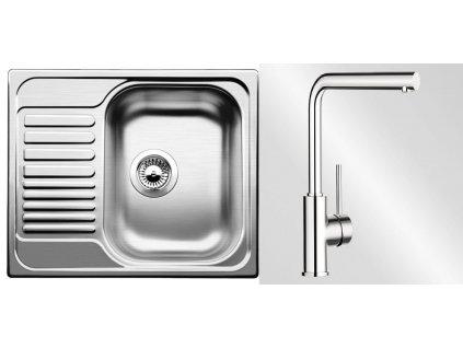 Kuchyňský set Blanco nerez dřez TIPO 45 S mini + baterie MILA  + Čistící prostředek BLANCO ANTIKALK 30 ml