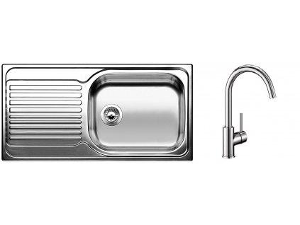 Kuchyňský set Blanco nerez dřez TIPO XL 6 S + baterie MIDA  + Čistící prostředek BLANCO ANTIKALK 30 ml