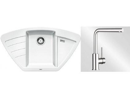 Kuchyňský set Blanco dřez ZIA 9 E bílá + baterie Mila  + Čistící prostředek BLANCO ANTIKALK 30 ml