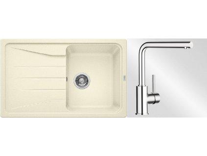 Kuchyňský set Blanco dřez SONA 45 S jasmín + baterie Mila  + Čistící prostředek BLANCO ANTIKALK 30 ml