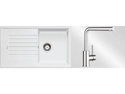 Kuchyňský set Blanco dřez ZIA 5 S bílá + baterie Mila  + Čistící prostředek BLANCO ANTIKALK 30 ml
