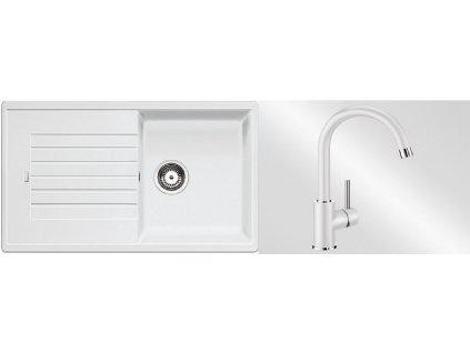 Kuchyňský set Blanco dřez ZIA 5 S bílá + baterie Mida  + Vůně do bytu Areon 85ml