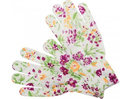 Rukavice zahradní bílé s květinami vel. 8