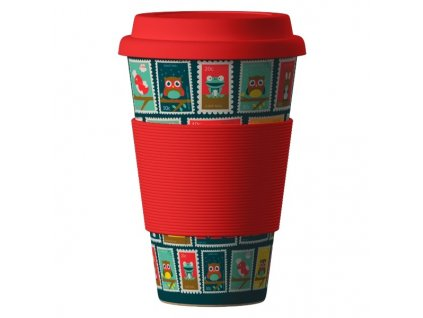Bamboo Cup 400ml - Postmarks red