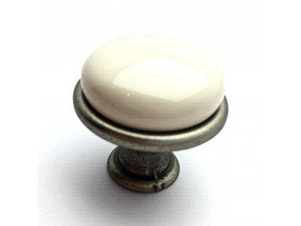 Nábytková knopka Tosca nikl patina/porcelán