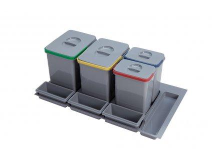 Odpadkový koš Sinks PRACTIKO 900 2x12l+2x5l+3x miska