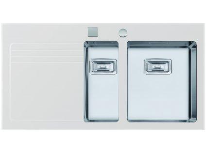 Nerezový dřez se sklem Sinks GLASS 1000.1 bílý pravý  + Vůně do bytu Areon 85ml